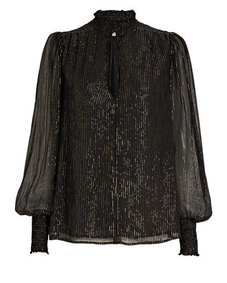 Silvie Striped Silk Chiffon Blouse, BLACK, hi-res