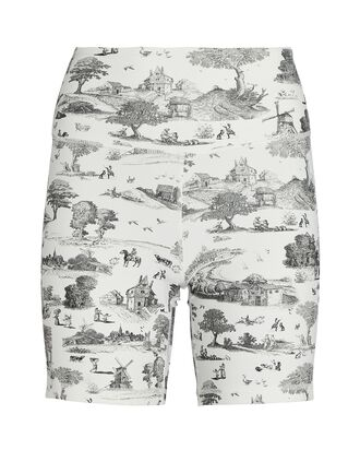 Toile Biker Shorts, WHITE/BLACK, hi-res
