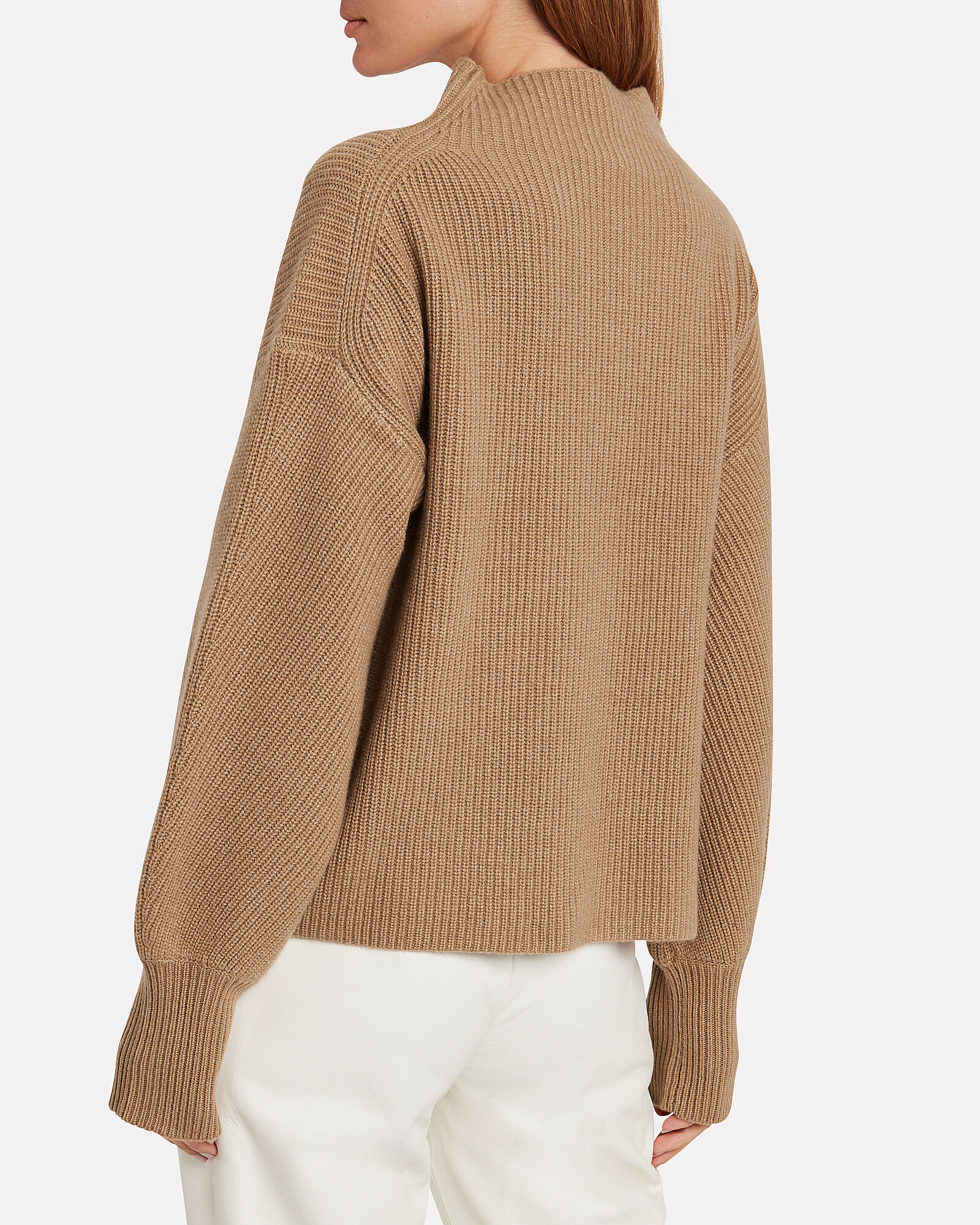 Helena Wool-Cashmere Ribbed Sweater, CAMEL, hi-res