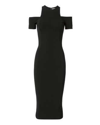 Cold Shoulder Midi Dress, BLACK, hi-res