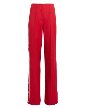 Ring Snap Wide Leg Pants, RED, hi-res