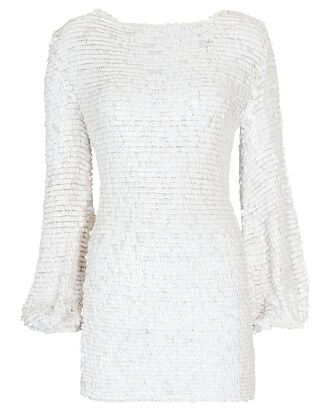 Tara Sequined Mesh Mini Dress, WHITE, hi-res