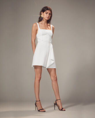 Bustier-Look Ivory Mini Dress, IVORY, hi-res
