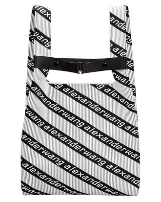 Diagonal Logo Shopper Tote, BLACK/WHITE, hi-res