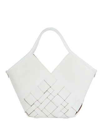 Coloma Small Woven Leather Tote, WHITE, hi-res