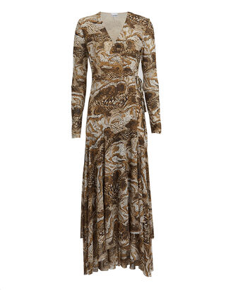 Marble Print Mesh Wrap Dress, MULTI, hi-res