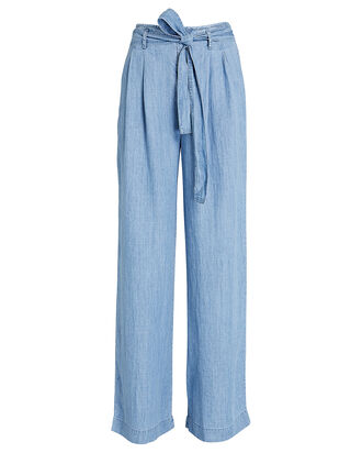 Jess Wide-Leg Chambray Pants, BLUE, hi-res