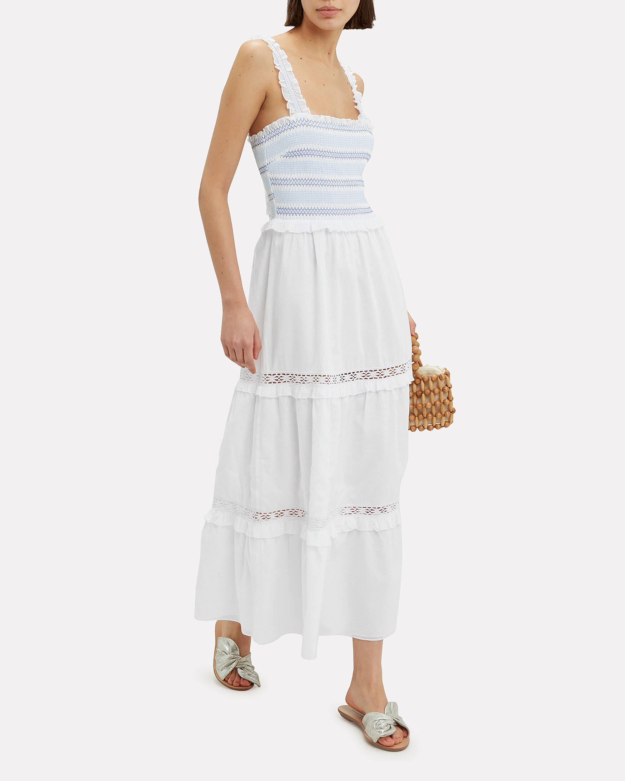 Asta Smocked Maxi Dress, WHITE, hi-res
