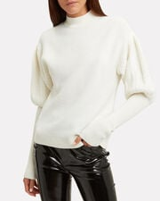 Mixed Knit Puff-Sleeved Sweater, IVORY, hi-res