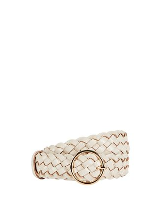 Tessa Braided Leather Buckle Belt, WHITE, hi-res