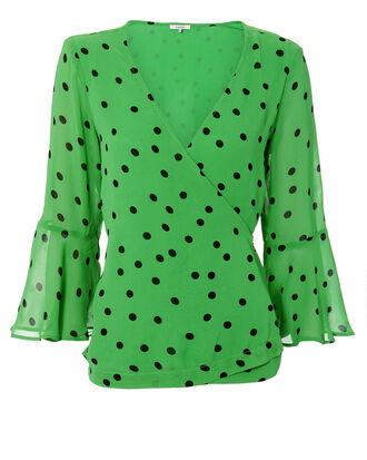 Classic Green Polka Dot Top, GREEN, hi-res