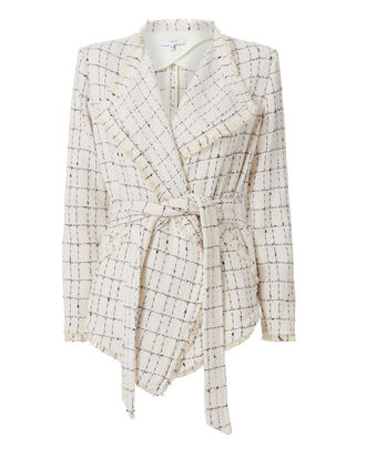 Quinet Plaid Knit Wrap Jacket, BLACK/WHITE, hi-res