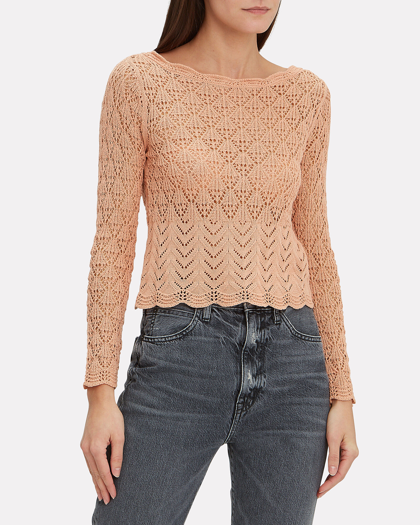 Sandy Open Knit Top, PINK, hi-res