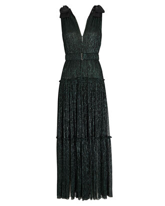 Ray Plissé Lurex Maxi Dress, EMERALD, hi-res