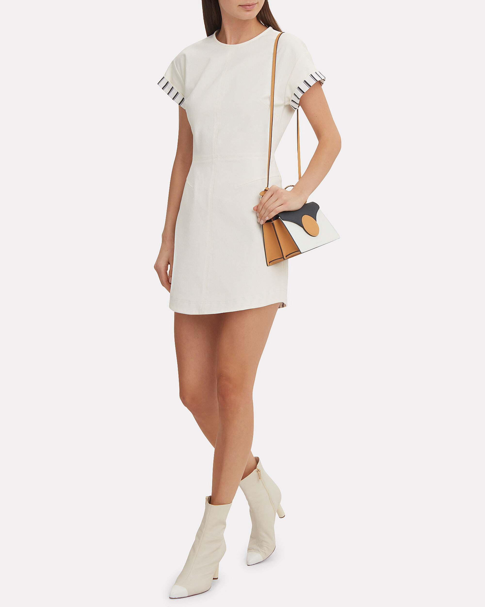 Striped Sleeve Ivory Mini Dress, IVORY/STRIPE, hi-res