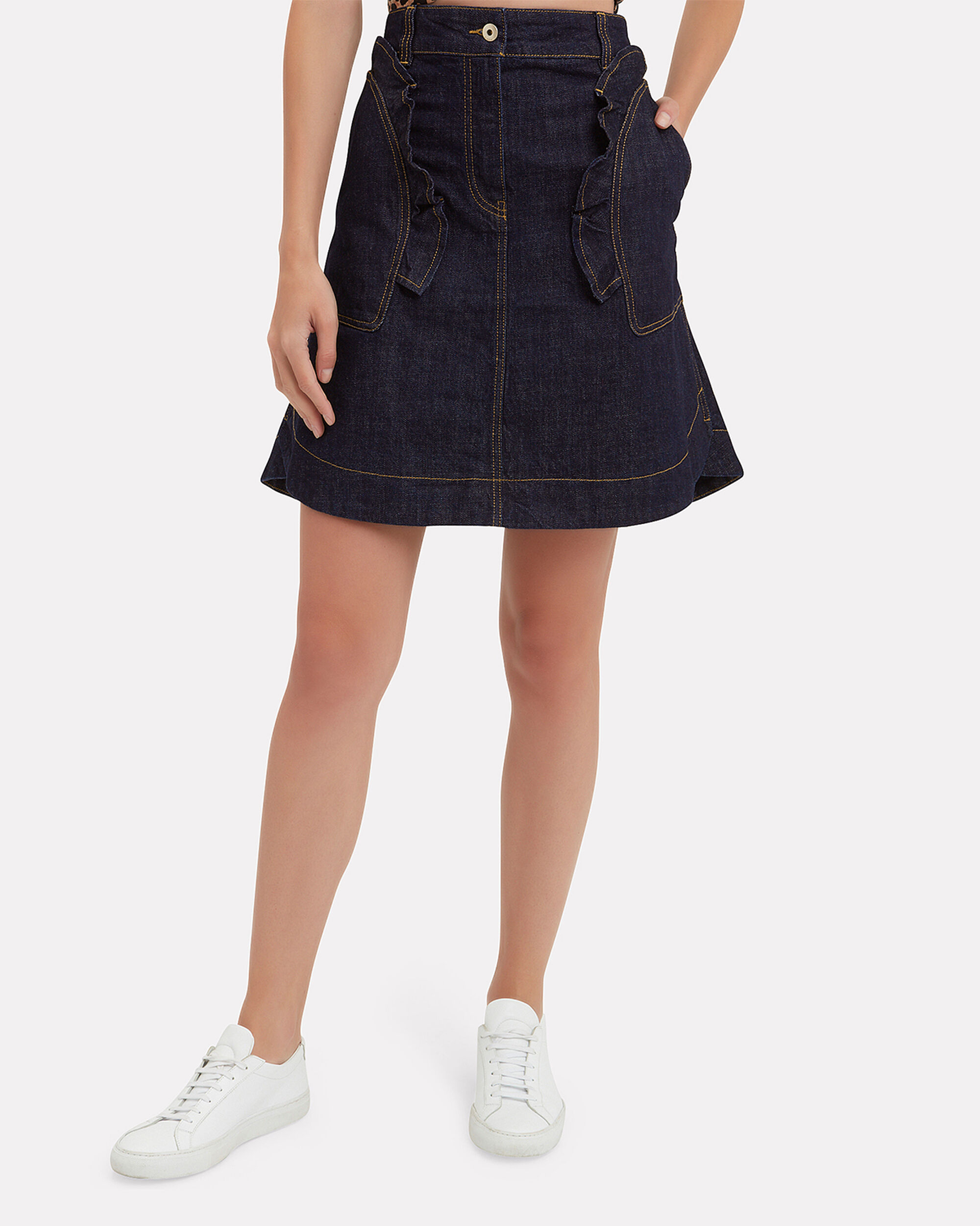 Ruffled Denim Mini Skirt, DARK DENIM, hi-res