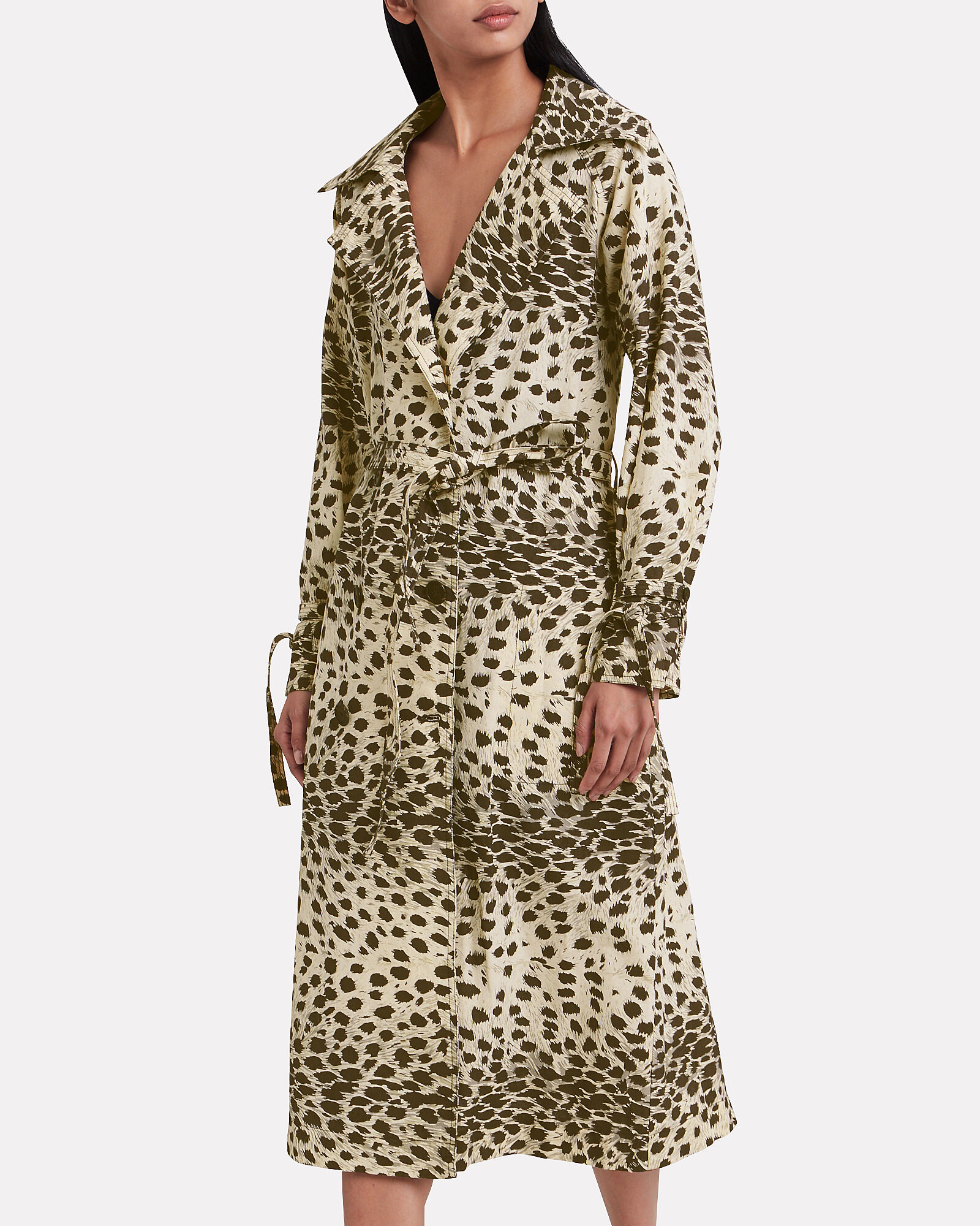 Leo Leopard Double Breasted Trench Coat, LEOPARD, hi-res