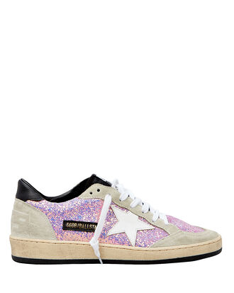 Ball Star Lilac Glitter Black Trim Sneakers, LILAC/GREY/BEIGE/BLACK, hi-res