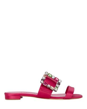 Versa Crystal Buckle Satin Slide Sandals, PINK, hi-res