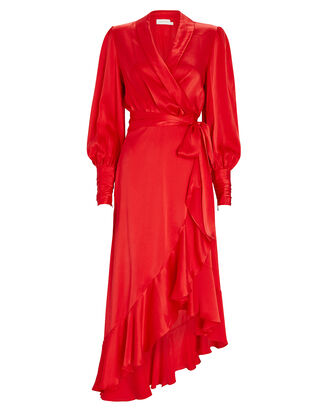 Silk High-Low Wrap Dress, RED, hi-res