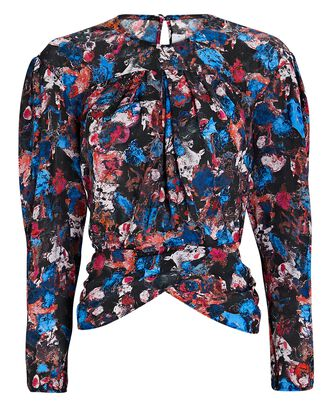 Woline Abstract Floral Blouse, BLACK/BLUE/PINK, hi-res