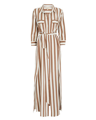Cameron Silk Maxi Shirt Dress, MULTI, hi-res