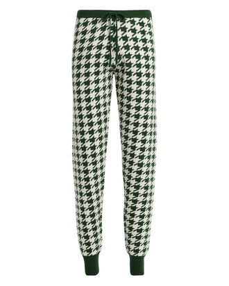 Alice Cashmere-Wool Houndstooth Joggers, FOREST/HOUNDSTOOTH, hi-res