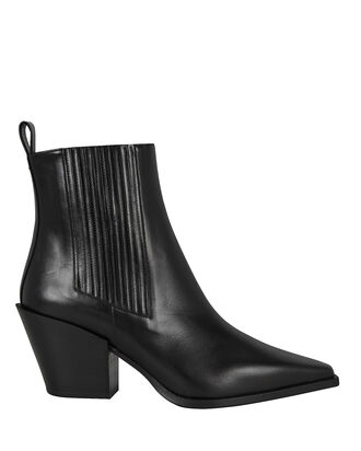 Kate Leather Cuban Heeled Booties, BLACK, hi-res