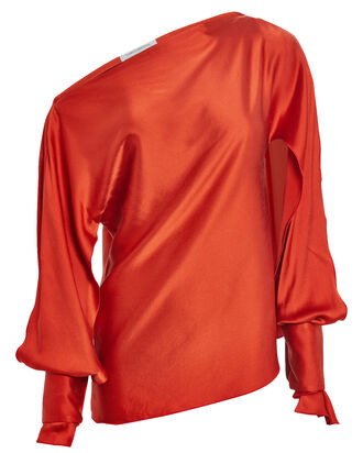Ilona One-Shoulder Satin Blouse, POPPY, hi-res