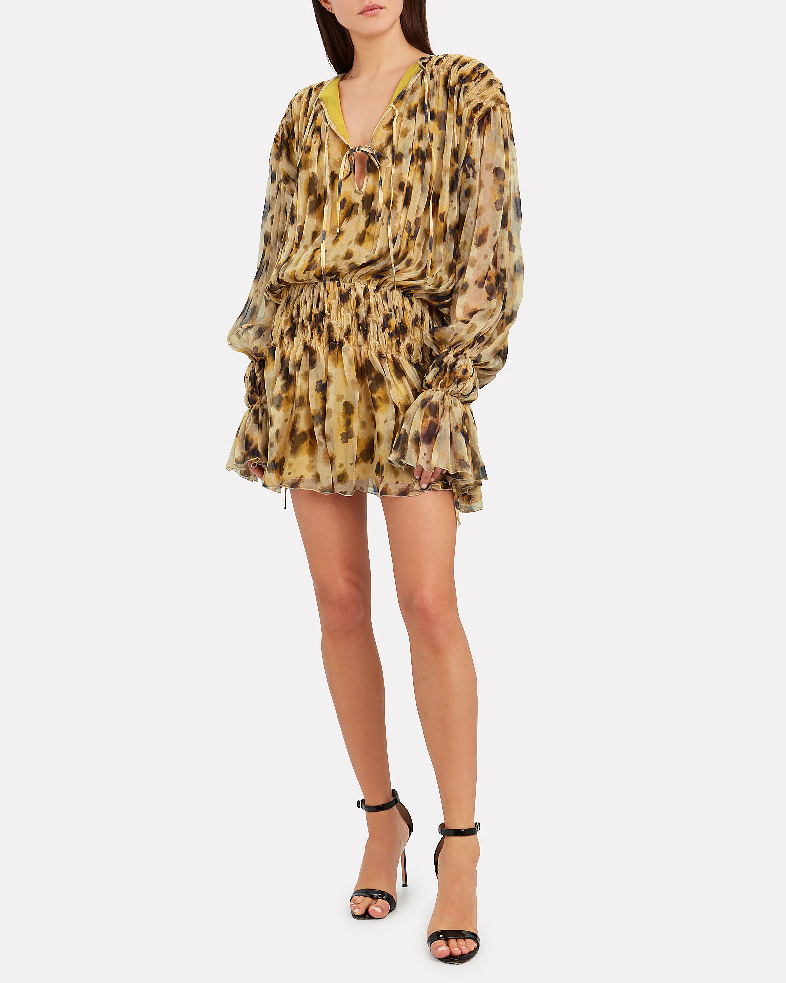 Smocked Leopard Silk Dress, YELLOW, hi-res