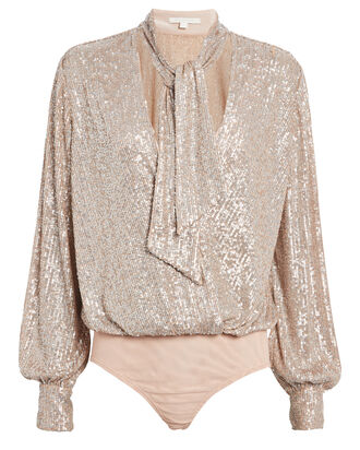Sequin Embellished Tie Neck Bodysuit, GOLD, hi-res