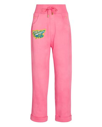 Cotton Tie-Dye Logo Sweatpants, PINK, hi-res