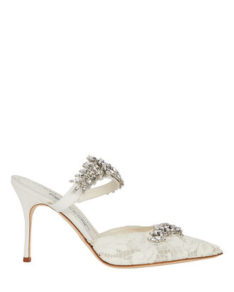 Lurum Crystal-Embellished Lace Mules, WHITE, hi-res