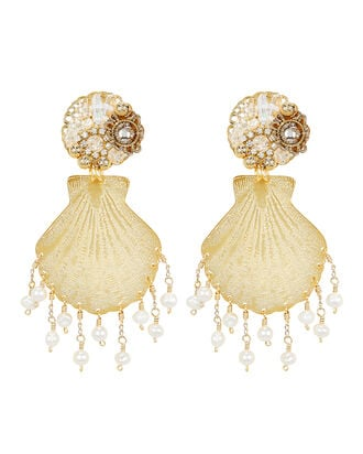 Beaded Shell Tassel Earrings, GOLD, hi-res