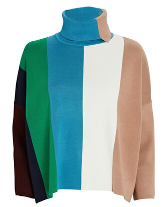 Colorblock Stripe Turtleneck Sweater, BLUE/WHITE/BLUSH, hi-res
