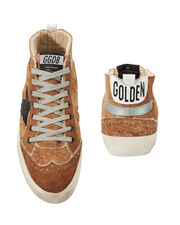 Mid Star Brown Leather And Shearling Sneakers, BROWN, hi-res