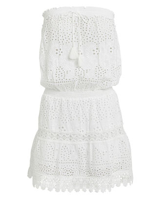 Iris Strapless Eyelet Dress, WHITE, hi-res