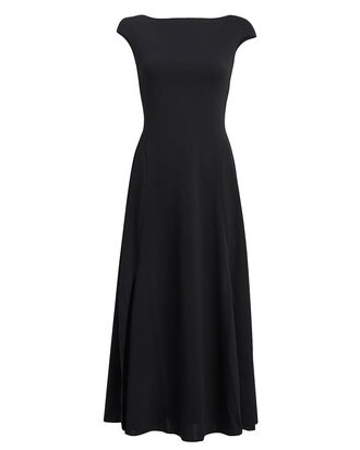 Open Back Crepe Dress, BLACK, hi-res