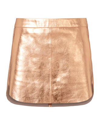 Rose Gold Baseball Hem Mini Skirt, METALLIC, hi-res