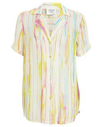 Tie-Dye Button-Down Shirt, IVORY/YELLOW/PINK, hi-res
