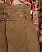 Anniston Suede Paperbag Mini Skirt, BROWN, hi-res