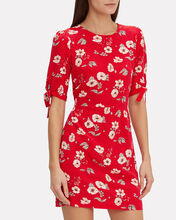 Cleo Floral Silk Dress, RED, hi-res