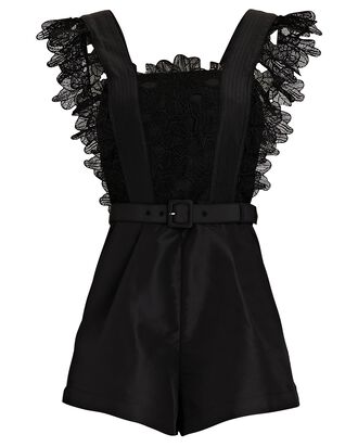 Guipure Lace Sleeveless Playsuit, BLACK, hi-res
