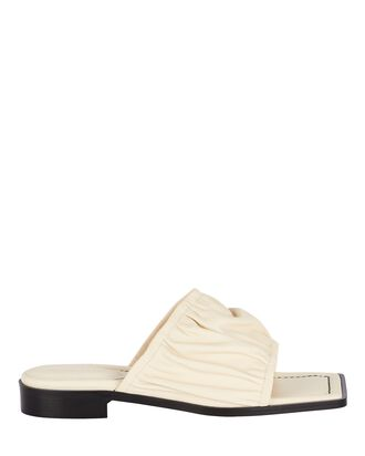 Mila Ruched Leather Slide Sandals, IVORY, hi-res