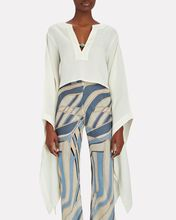 Amy Linen-Blend Bell Sleeve Top, WHITE, hi-res