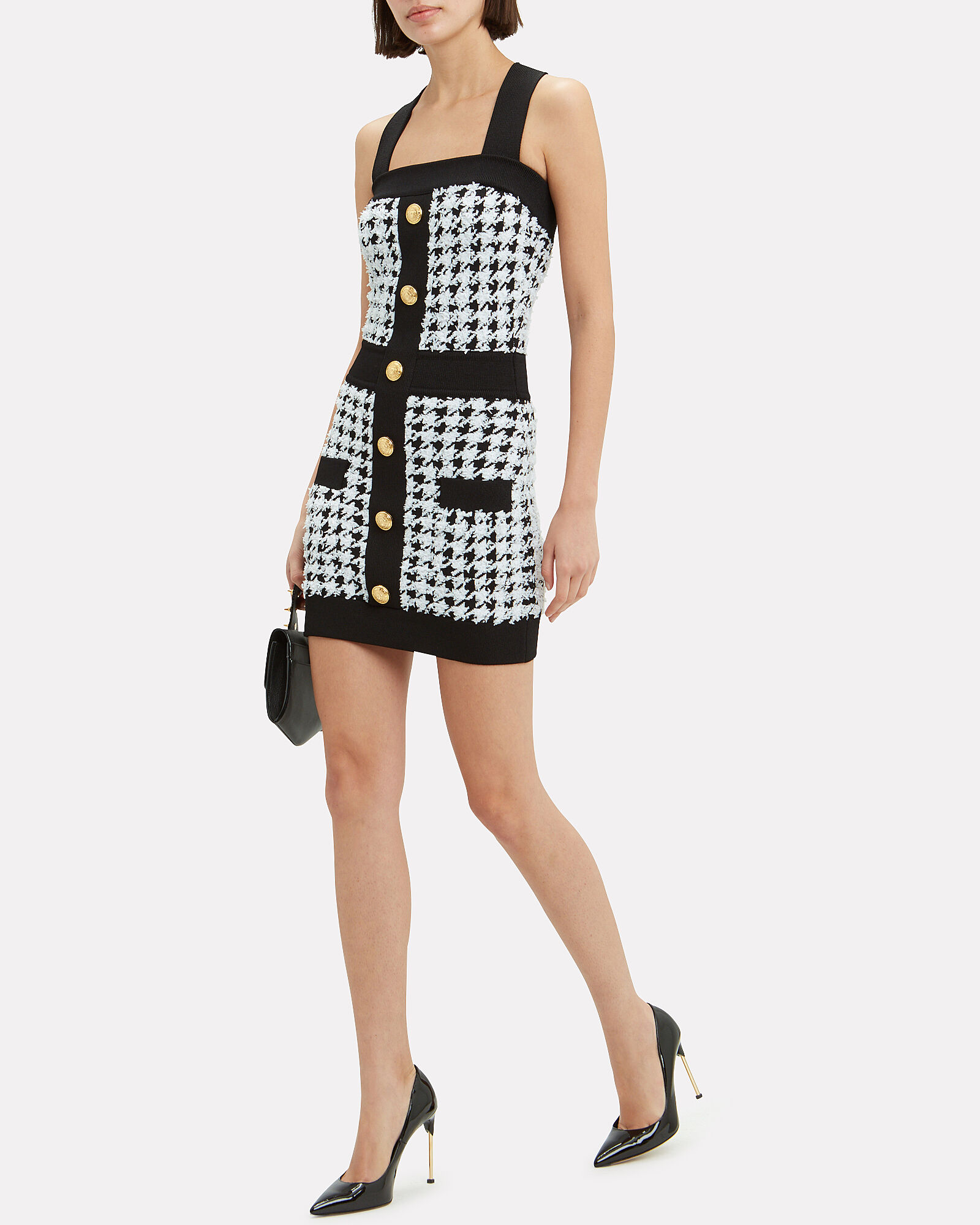 Houndstooth Mini Dress, BLK/WHT, hi-res
