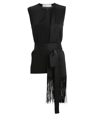 Fringed Scarf Top, BLACK, hi-res