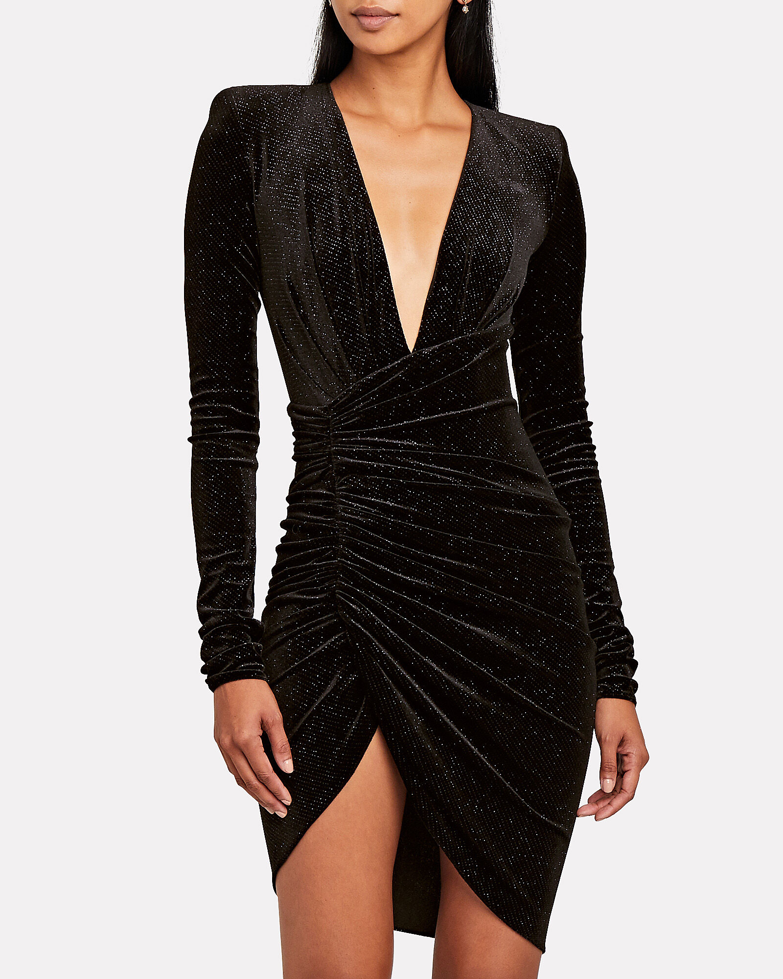 Glitter Velvet Ruched Mini Dress, , hi-res