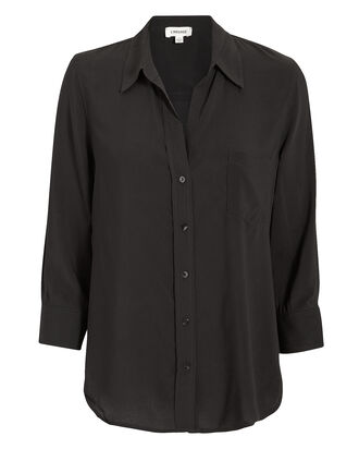 Ryan Three-Quarter Sleeve Black Blouse, BLACK, hi-res