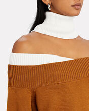 Off-the-Shoulder Turtleneck Sweater, BROWN/WHITE, hi-res